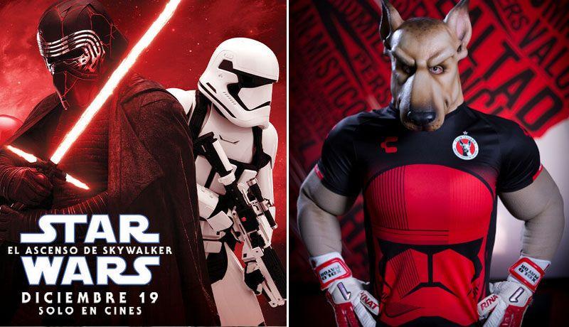 Cartel de la nueva película de Star Wars y la mascota de los Xolos con el uniforme.