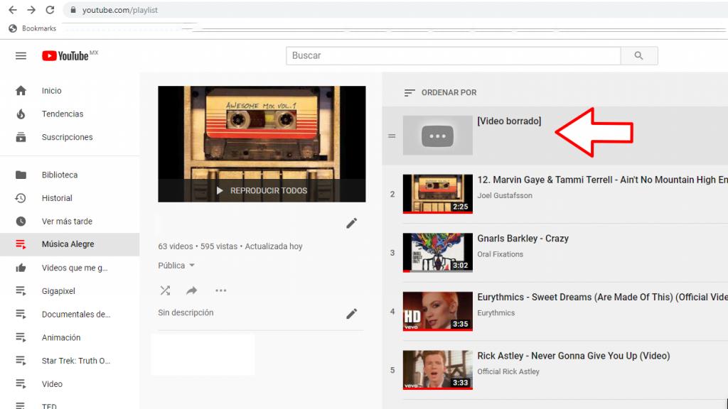 Vídeos borrados por Youtube