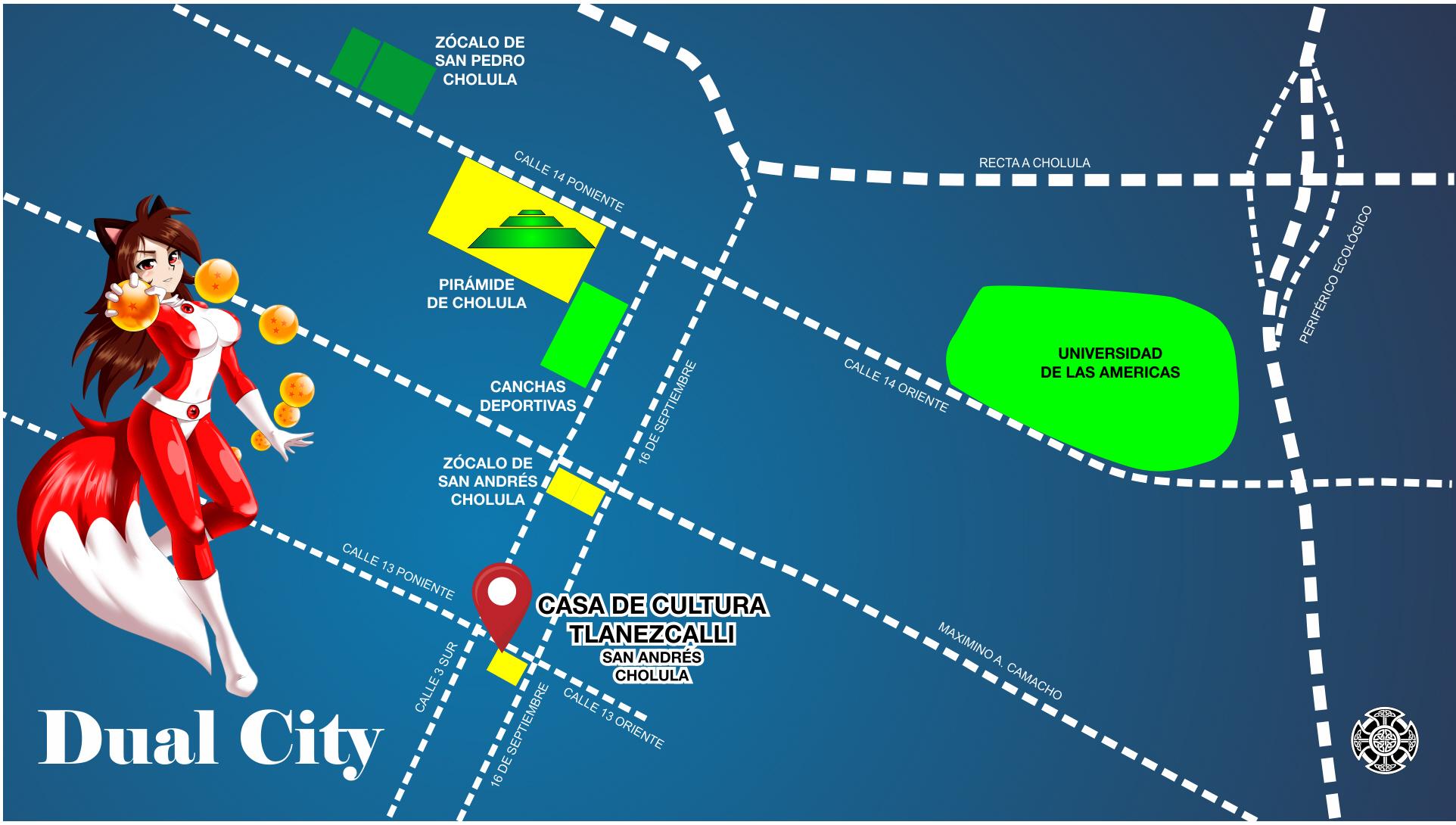 Plano para llegar a la Expo Anime Dual City en la Casa de la Cultura de San Andres Cholula
